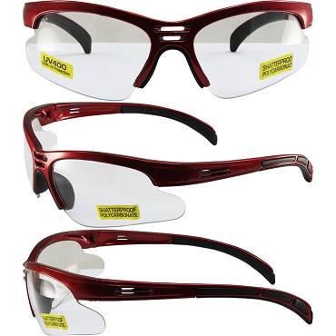 Trigger Safety Glasses Red Frame Clear Lenses