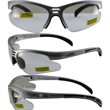 Trigger Safety Glasses Silver Frame Clear Lenses