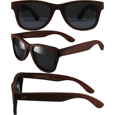 Woodpecker Zebra Wood Sunglasses Smoke Lenses