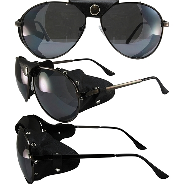 Biker Sunglasses Black Frame Smoke Lenses