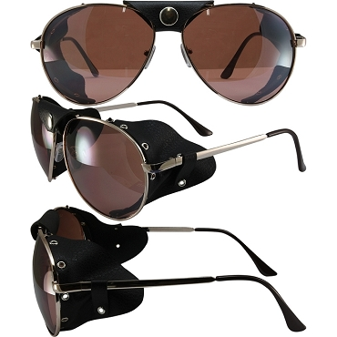 Biker Sunglasses Gold Frame Mirror Lenses