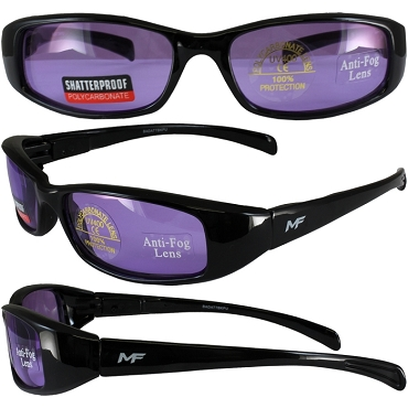 Low Profile Motorcycle Sunglasses Purple Lenses
