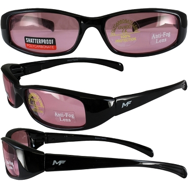 Low Profile Motorcycle Sunglasses Rose Lenses