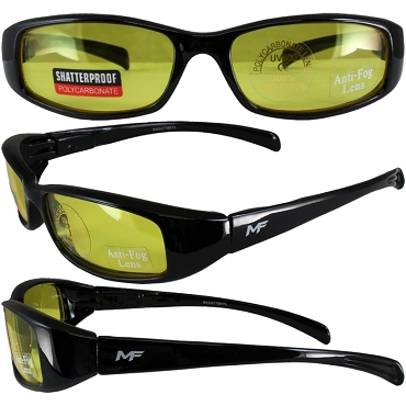 Low Profile Motorcycle Sunglasses Yellow Lenses