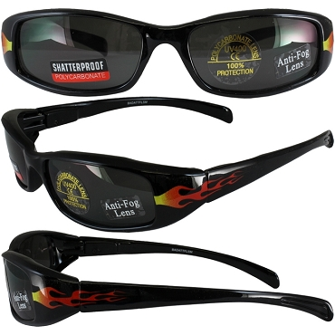 Motorcycle Sunglasses Smoke Lenses with Flames