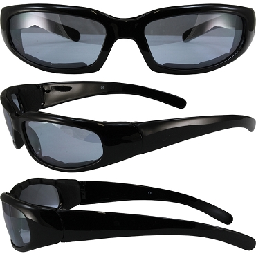 Motorcycle Sunglasses Foam Padded Blue Lenses