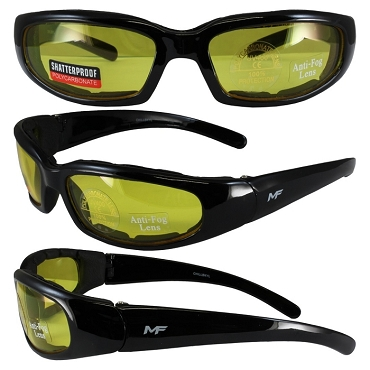 Motorcycle Sunglasses Foam Padded Yellow Lenses