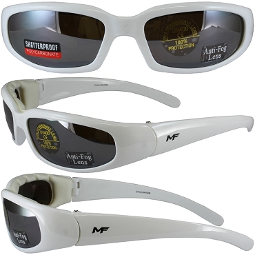 Motorcycle Sunglasses White Frame Mirror Lenses