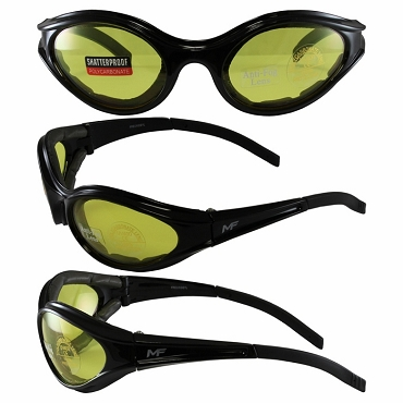 Sport Wrap Motorcycle Sunglasses Yellow Lenses