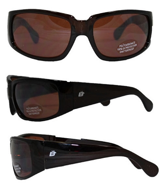 Motorcycle Sunglasses Brown Mirror Lenses