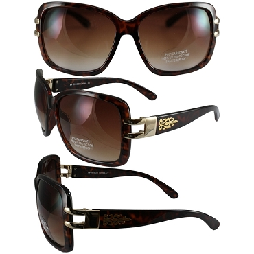 Biker Sunglasses Gold Trim Brown Lenses