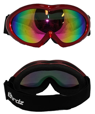 Red Frame Goggles Rainbow Mirror Lens