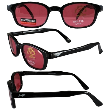 Motorcycle Sunglasses Red Lenses Spring Hinges