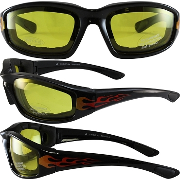 Biker Sunglasses Yellow Lenses with Flames