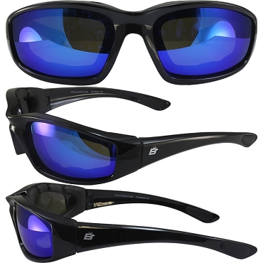 Motorcycle Sunglasses Blue Mirror Lenses