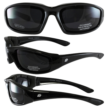 Foam Padded Biker Sunglasses Dark Lenses
