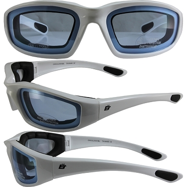 Motorcycle Sunglasses White Frame Blue Lenses