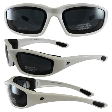Motorcycle Sunglasses White Frame Smoke Lenses
