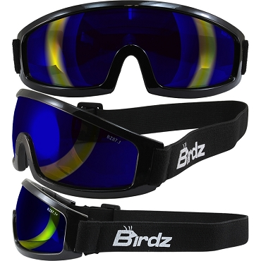 Low Profile Motorcycle Goggles Blue Lens