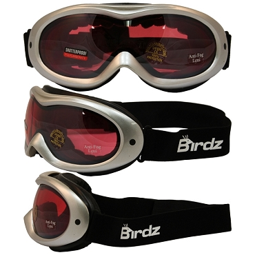 Snow Goggles Rose Mirrored Lens Silver Frame