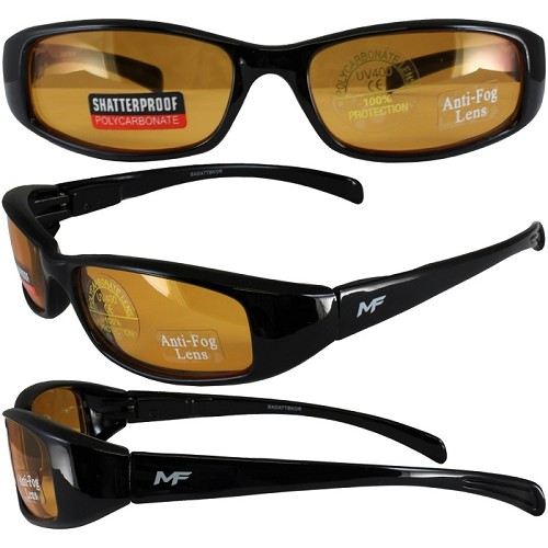 Low Profile Motorcycle Sunglasses Orange Lenses