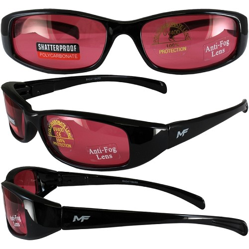 Low Profile Motorcycle Sunglasses Red Lenses