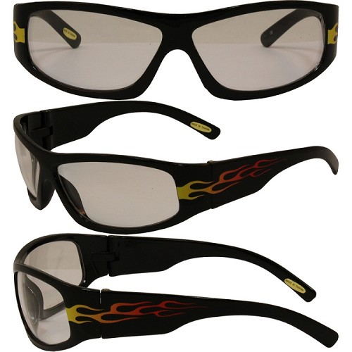 Motorcycle Sunglasses Orange Flames Clear Lens