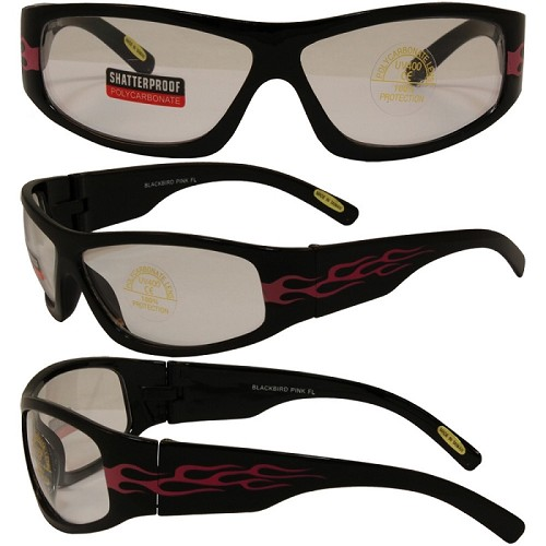 Motorcycle Sunglasses Pink Flames Clear Lens
