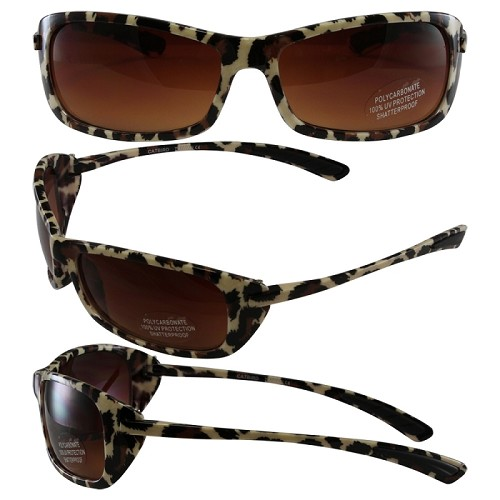 Womens Biker Sunglasses Gradient Lenses Leopard