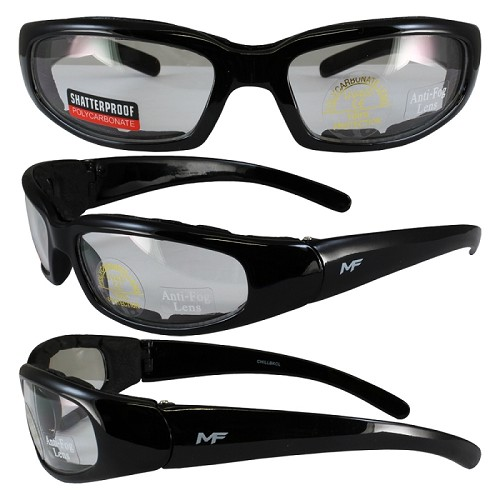 Motorcycle Sunglasses Foam Padded Clear Lenses