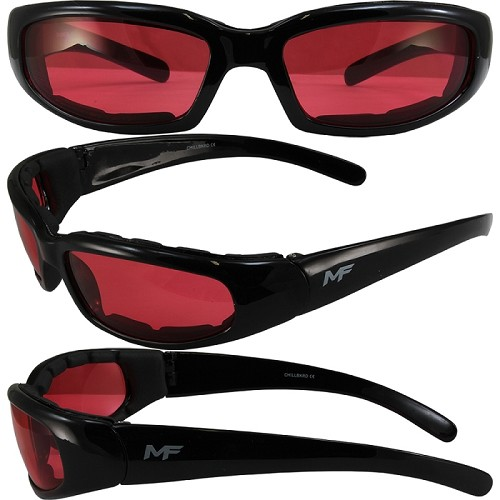 Motorcycle Sunglasses Foam Padded Red Lenses