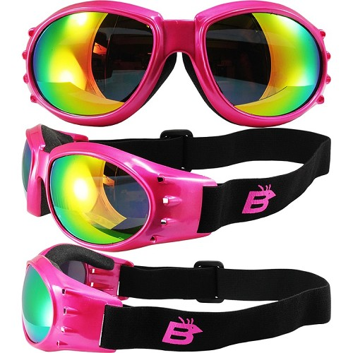 Eagle Pink Vented Goggles with Mirror Lenses