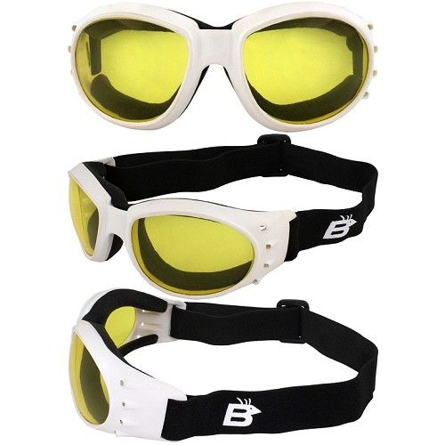 Eagle Vented White Biker Goggles Yellow Lenses
