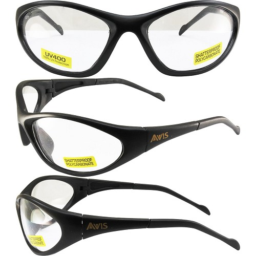 Flexor Lab Safety Glasses Black Frame Clear Lenses