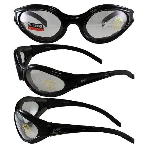 Sport Wrap Motorcycle Sunglasses Clear Lenses