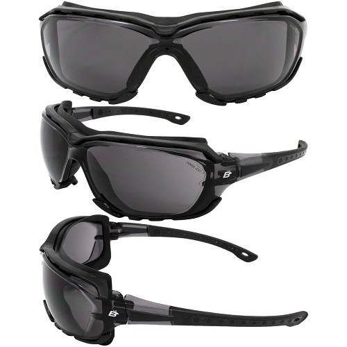 Gasket Black Foam Padded Sunglasses Smoke Lenses