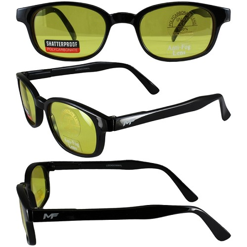 Motorcycle Sunglasses Yellow Lenses Spring Hinges
