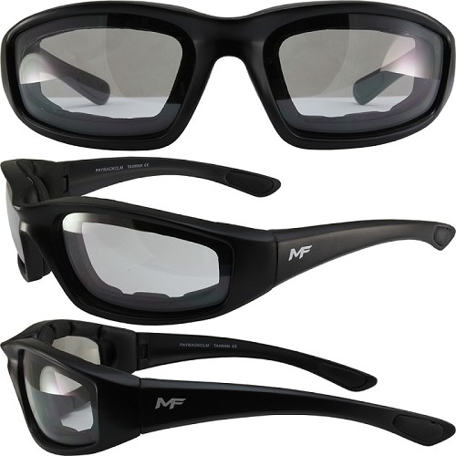 Aerodynamic Motorcycle Sunglasses Clear Mirror Lenses