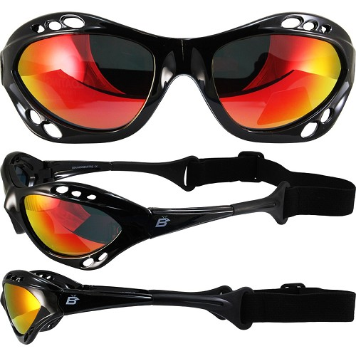 Seahawk Black Sunglasses Goggles Red Lenses