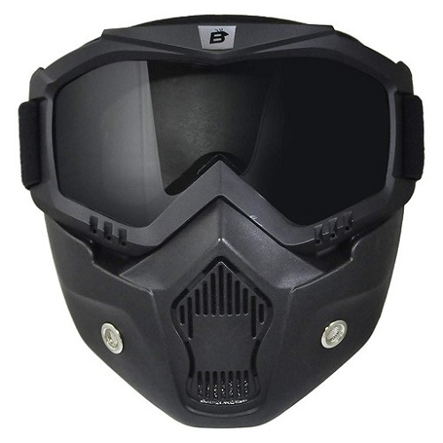 Smoke Motorcycle Goggles with Vented Face Mask