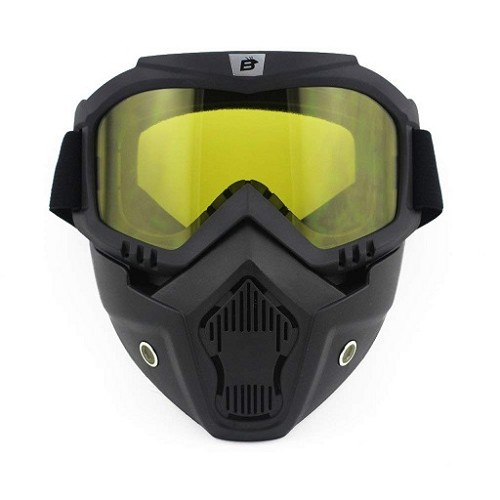 Yellow Motorcycle Goggles with Vented Face Mask
