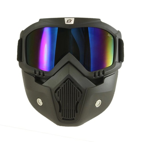 Blue Mirror Goggles Removeable Vented Face Mask