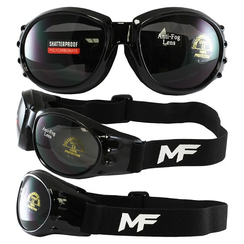 Vented Motorcycle Goggles Smoke Lens