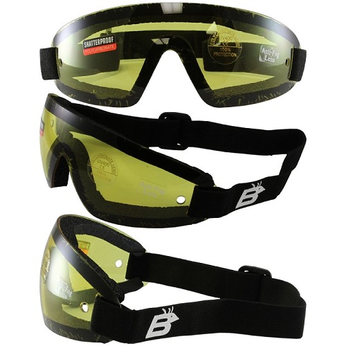 Vented Anti-Fog Skydiving Goggles Yellow Lens